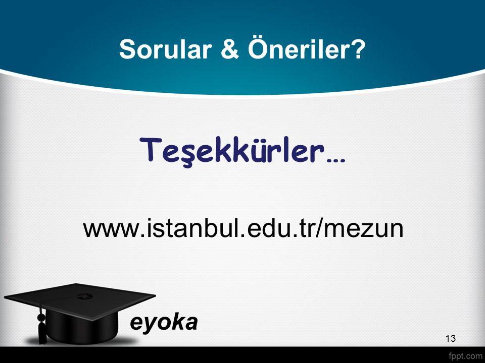 eyoka Sorular & Öneriler? Teşekkürler… www.istanbul.edu.tr/mezun 13