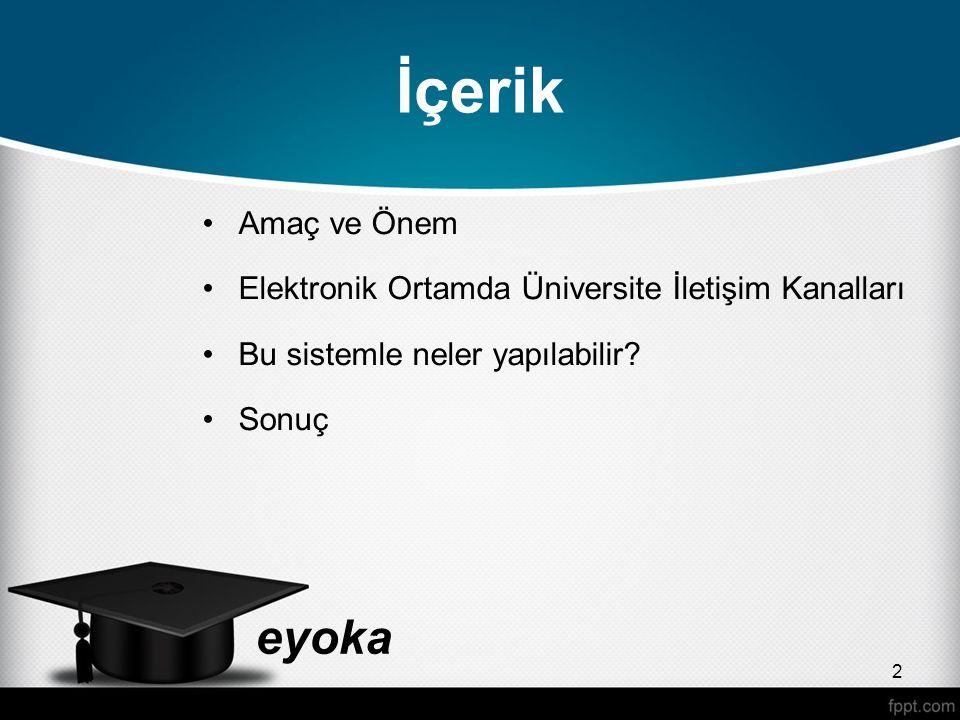 eyoka Sık Kullanılan İletişim Kanalları Üniversiteler farklı iletişimi yöntemler kullanmaktadırlar.
