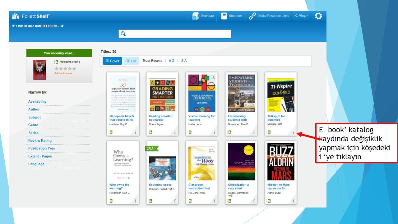 E- book' katalog kaydında değişiklik yapmak için köşedeki i 'ye tıklayın