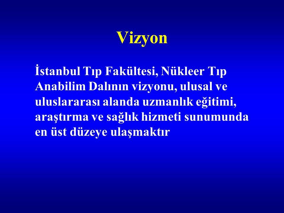 Vizyon İstanbul Tıp Fakültesi, Nükleer Tıp Anabilim Dalının vizyonu, ulusal ve uluslararası alanda uzmanlık eğitimi, araştırma ve sağlık hizmeti sunum