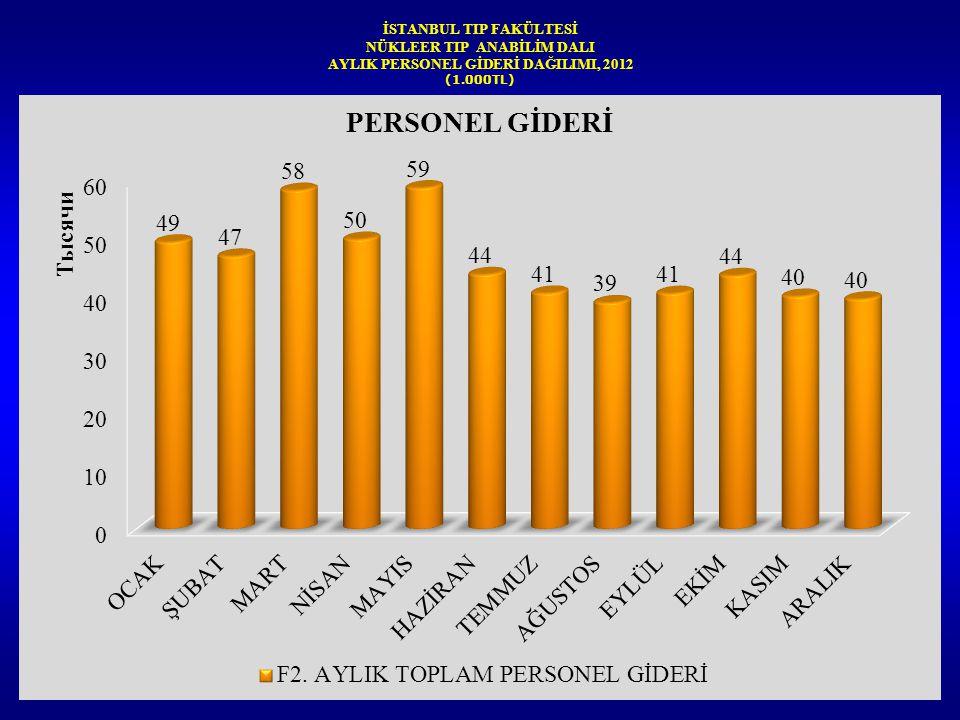 İSTANBUL TIP FAKÜLTESİ NÜKLEER TIP ANABİLİM DALI AYLIK PERSONEL GİDERİ DAĞILIMI, 2012 (1.000TL)
