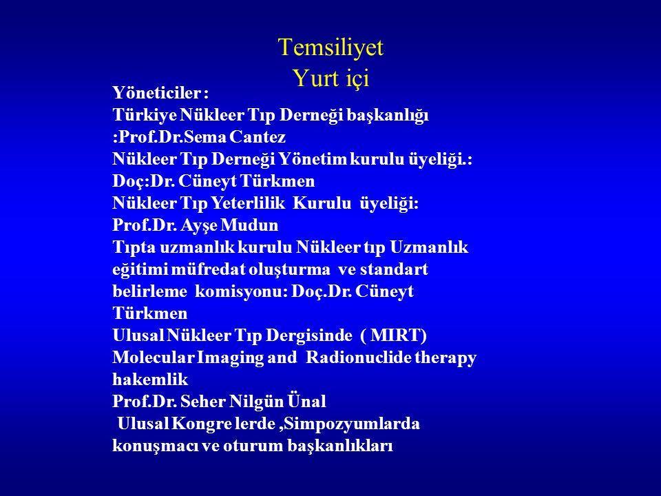 Temsiliyet Yurt içi Yöneticiler : Türkiye Nükleer Tıp Derneği başkanlığı :Prof.Dr.Sema Cantez Nükleer Tıp Derneği Yönetim kurulu üyeliği.: Doç:Dr. Cün