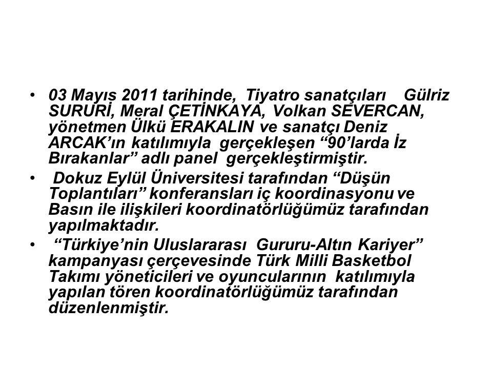 03 Mayıs 2011 tarihinde, Tiyatro sanatçıları Gülriz SURURİ, Meral ÇETİNKAYA, Volkan SEVERCAN, yönetmen Ülkü ERAKALIN ve sanatçı Deniz ARCAK'ın katılımıyla gerçekleşen 90'larda İz Bırakanlar adlı panel gerçekleştirmiştir.