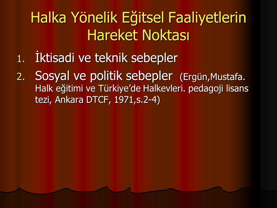 Halka Yönelik Eğitsel Faaliyetlerin Hareket Noktası 1. İktisadi ve teknik sebepler 2. Sosyal ve politik sebepler (Ergün,Mustafa. Halk eğitimi ve Türki