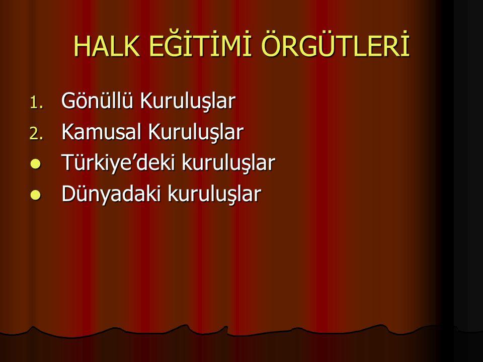 HALK EĞİTİMİ ÖRGÜTLERİ 1. Gönüllü Kuruluşlar 2. Kamusal Kuruluşlar Türkiye'deki kuruluşlar Türkiye'deki kuruluşlar Dünyadaki kuruluşlar Dünyadaki kuru