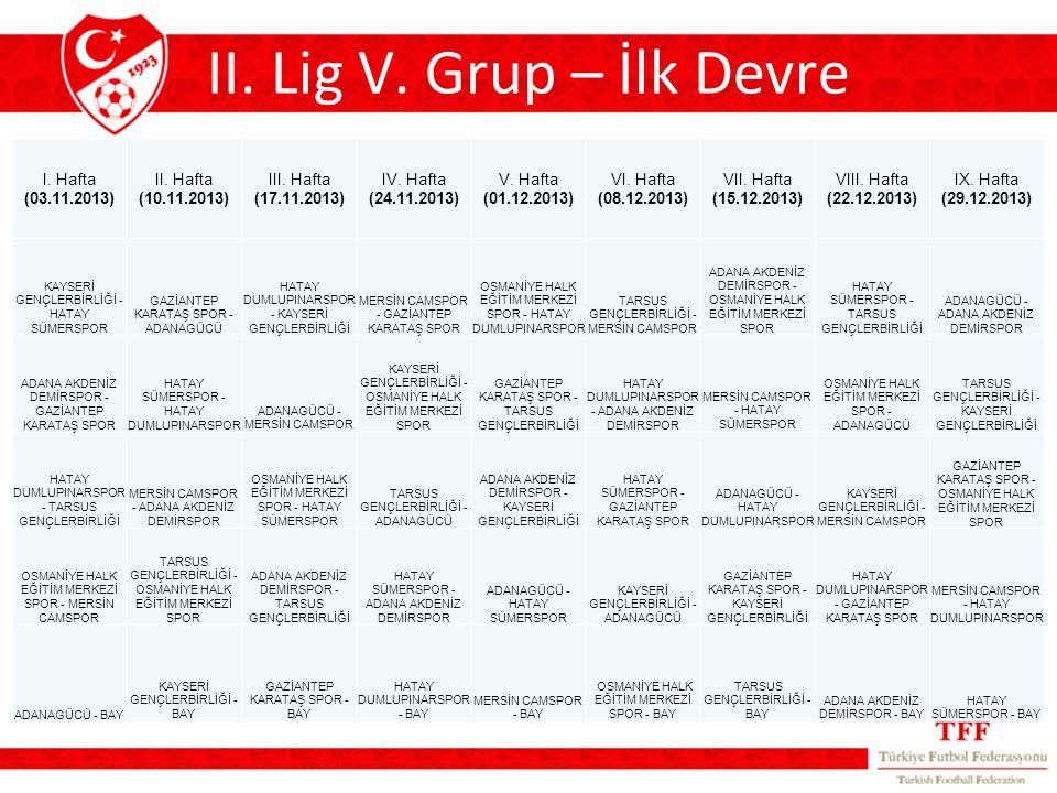 II. Lig V.
