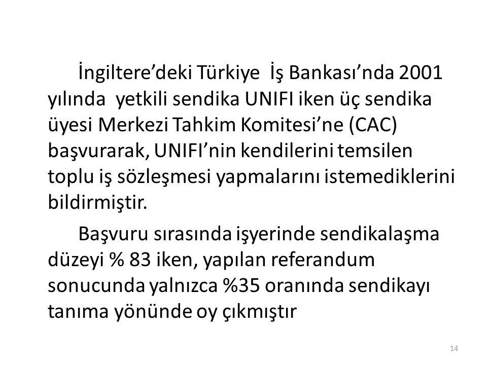 İngiltere'deki Türkiye İş Bankası'nda 2001 yılında yetkili sendika UNIFI iken üç sendika üyesi Merkezi Tahkim Komitesi'ne (CAC) başvurarak, UNIFI'nin