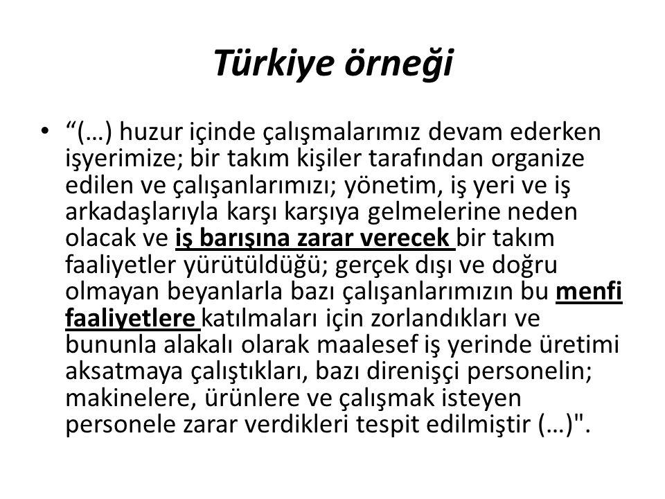 """Türkiye örneği """"(…) huzur içinde çalışmalarımız devam ederken işyerimize; bir takım kişiler tarafından organize edilen ve çalışanlarımızı; yönetim, iş"""