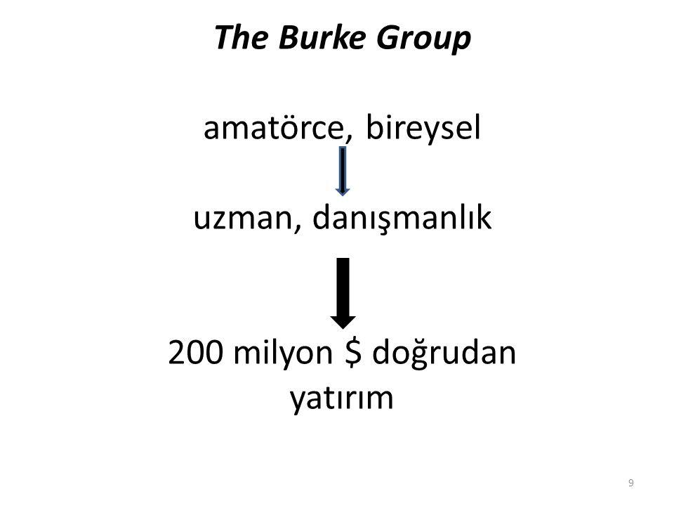 The Burke Group amatörce, bireysel uzman, danışmanlık 200 milyon $ doğrudan yatırım 9