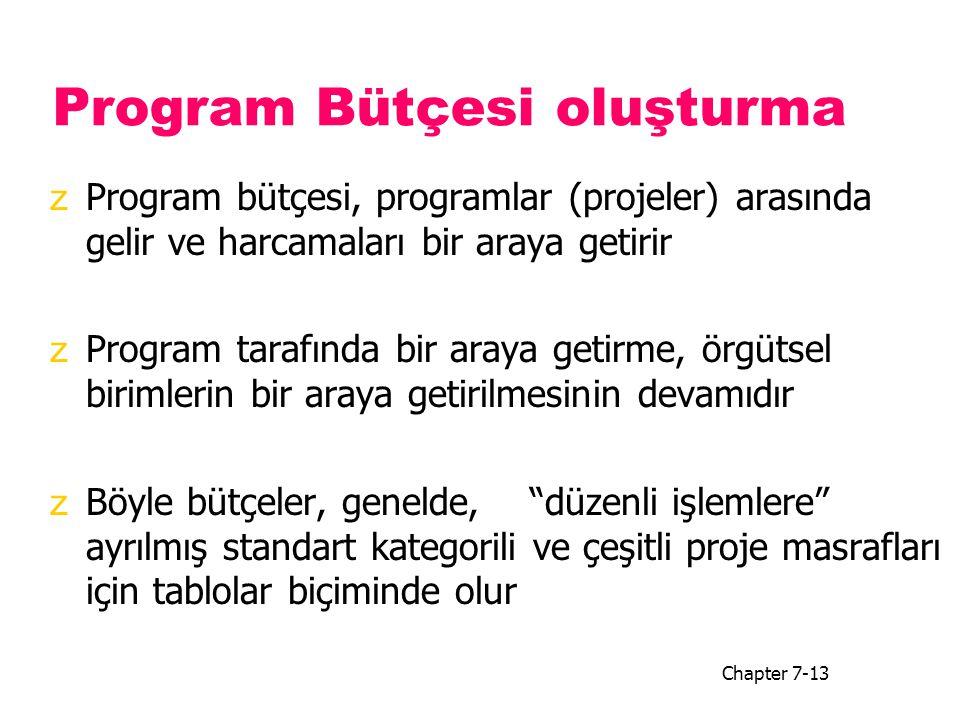 Program Bütçesi oluşturma zProgram bütçesi, programlar (projeler) arasında gelir ve harcamaları bir araya getirir zProgram tarafında bir araya getirme