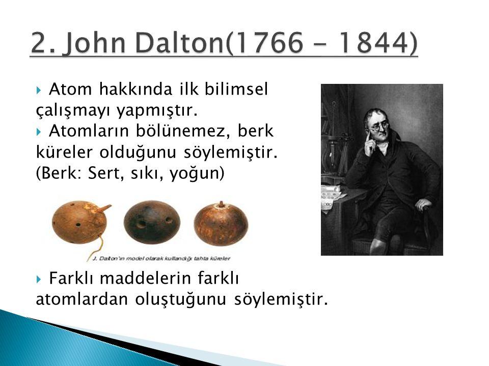  Atom hakkında ilk bilimsel çalışmayı yapmıştır.  Atomların bölünemez, berk küreler olduğunu söylemiştir. (Berk: Sert, sıkı, yoğun)  Farklı maddele