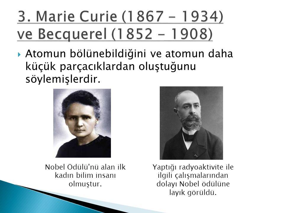  Atomun bölünebildiğini ve atomun daha küçük parçacıklardan oluştuğunu söylemişlerdir. Nobel Ödülü'nü alan ilk kadın bilim insanı olmuştur. Yaptığı r