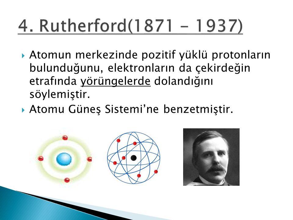  Atomun merkezinde pozitif yüklü protonların bulunduğunu, elektronların da çekirdeğin etrafında yörüngelerde dolandığını söylemiştir.  Atomu Güneş S