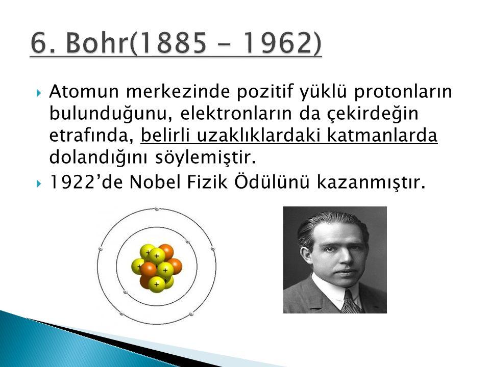  Atomun merkezinde pozitif yüklü protonların bulunduğunu, elektronların da çekirdeğin etrafında, belirli uzaklıklardaki katmanlarda dolandığını söyle