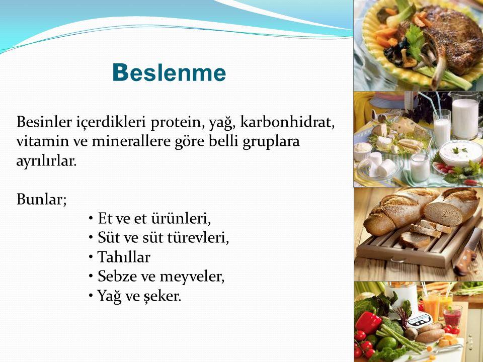 B eslenme Besinler içerdikleri protein, yağ, karbonhidrat, vitamin ve minerallere göre belli gruplara ayrılırlar. Bunlar; Et ve et ürünleri, Süt ve sü