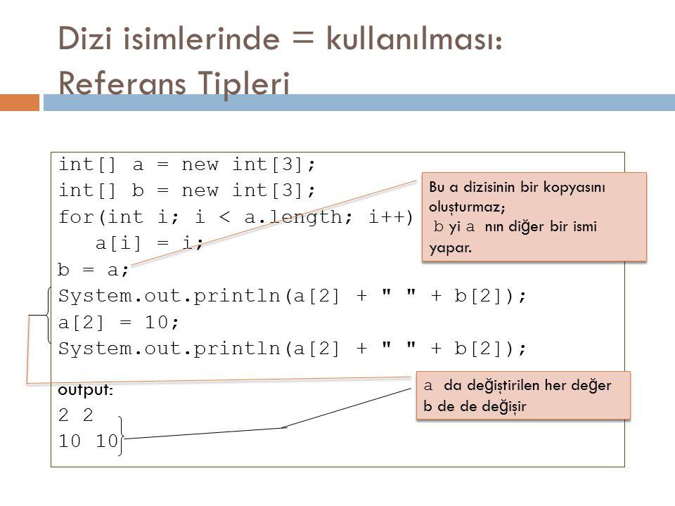 Dizi isimlerinde = kullanılması: Referans Tipleri int[] a = new int[3]; int[] b = new int[3]; for(int i; i < a.length; i++) a[i] = i; b = a; System.ou
