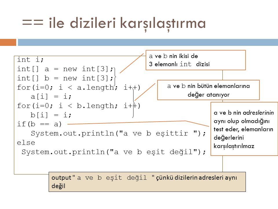 == ile dizileri karşılaştırma int i; int[] a = new int[3]; int[] b = new int[3]; for(i=0; i < a.length; i++) a[i] = i; for(i=0; i < b.length; i++) b[i