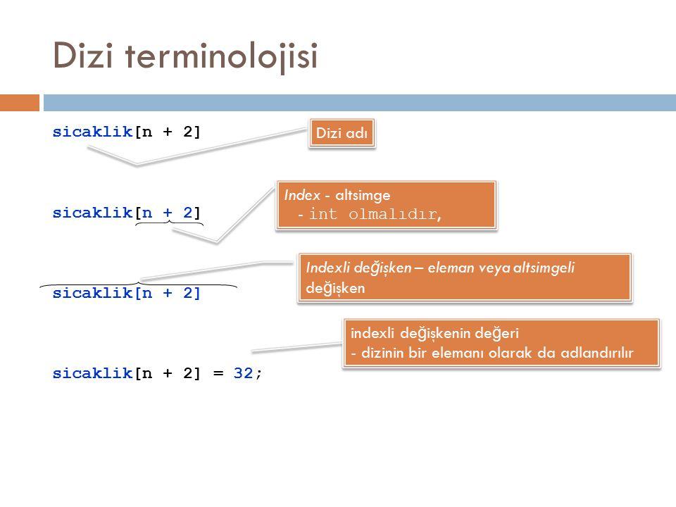 Dizi terminolojisi sicaklik[n + 2] sicaklik[n + 2] = 32; Dizi adı Index - altsimge - int olmalıdır, Index - altsimge - int olmalıdır, Indexli de ğ işk