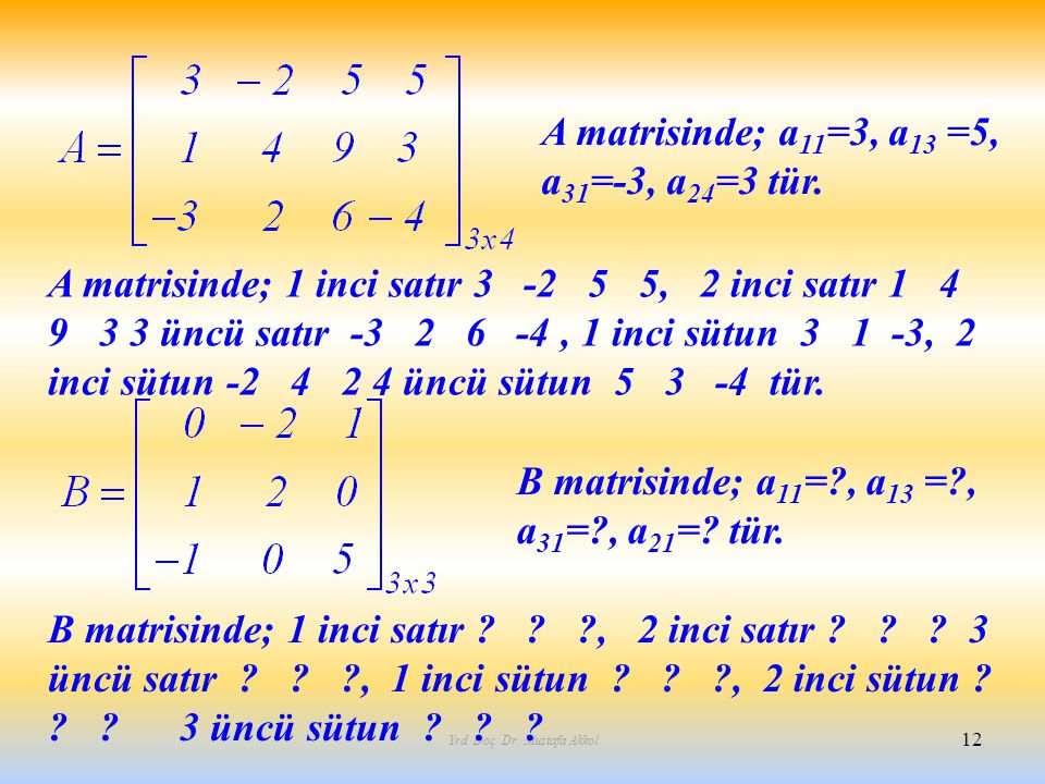 Yrd. Doç. Dr. Mustafa Akkol 12 A matrisinde; a 11 =3, a 13 =5, a 31 =-3, a 24 =3 tür. A matrisinde; 1 inci satır 3 -2 5 5, 2 inci satır 1 4 9 3 3 üncü