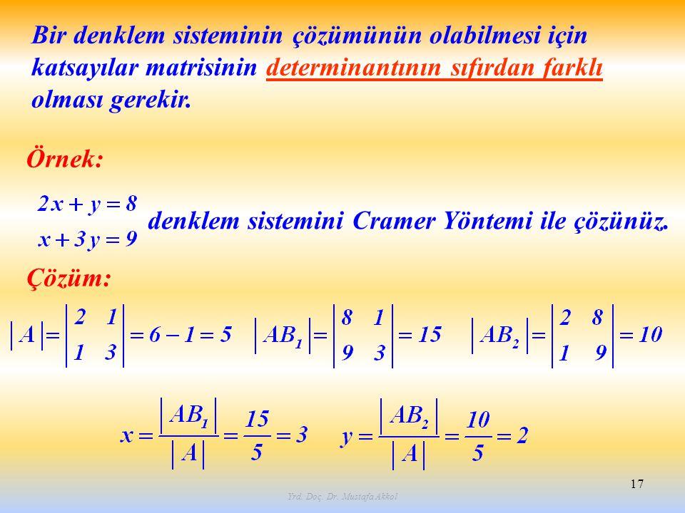 Yrd. Doç. Dr. Mustafa Akkol 17 Örnek: denklem sistemini Cramer Yöntemi ile çözünüz. Çözüm: Bir denklem sisteminin çözümünün olabilmesi için katsayılar
