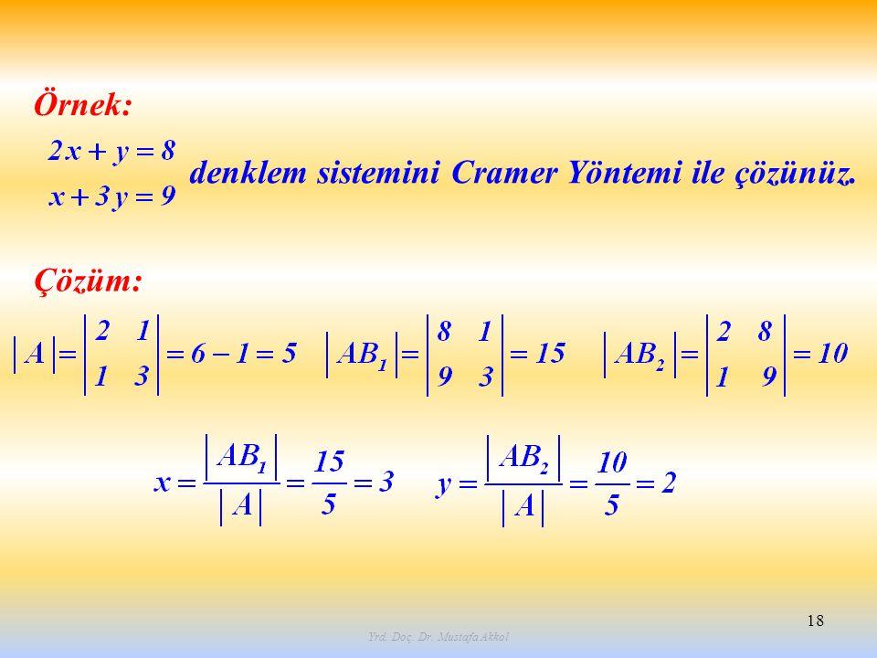Yrd. Doç. Dr. Mustafa Akkol 18 Örnek: denklem sistemini Cramer Yöntemi ile çözünüz. Çözüm: