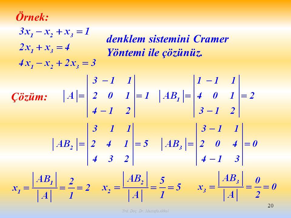 Yrd. Doç. Dr. Mustafa Akkol 20 Örnek: denklem sistemini Cramer Yöntemi ile çözünüz. Çözüm: