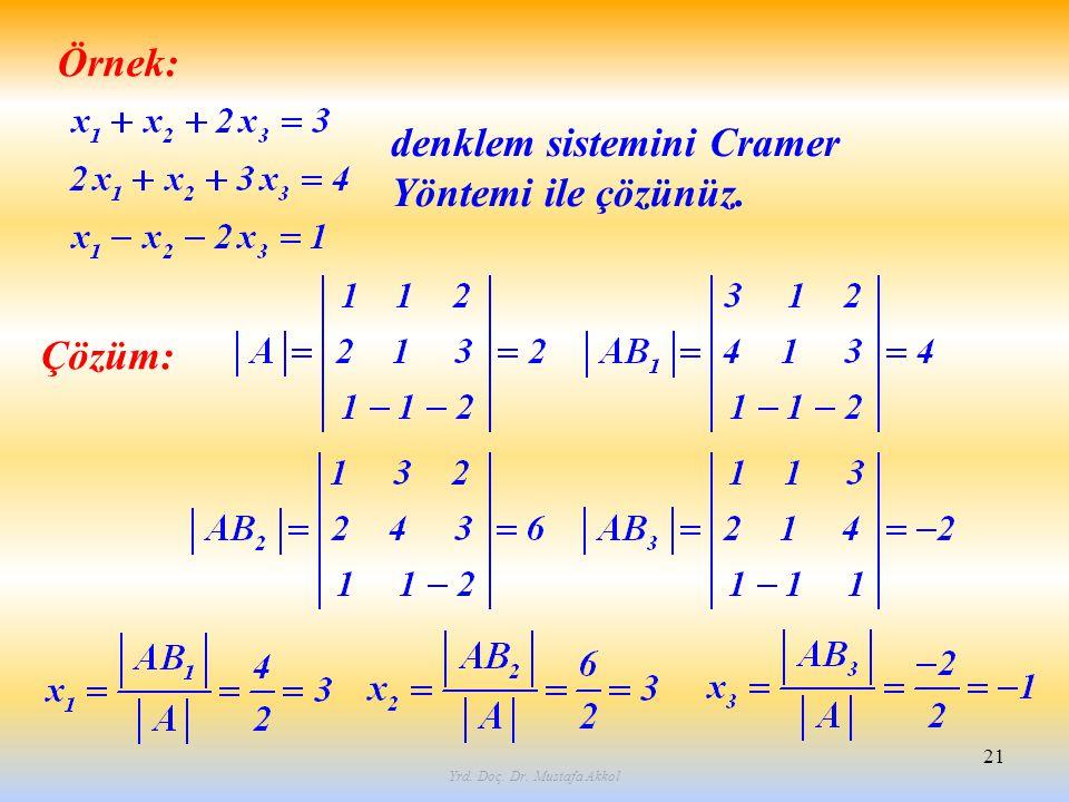 Yrd. Doç. Dr. Mustafa Akkol 21 Örnek: denklem sistemini Cramer Yöntemi ile çözünüz. Çözüm: