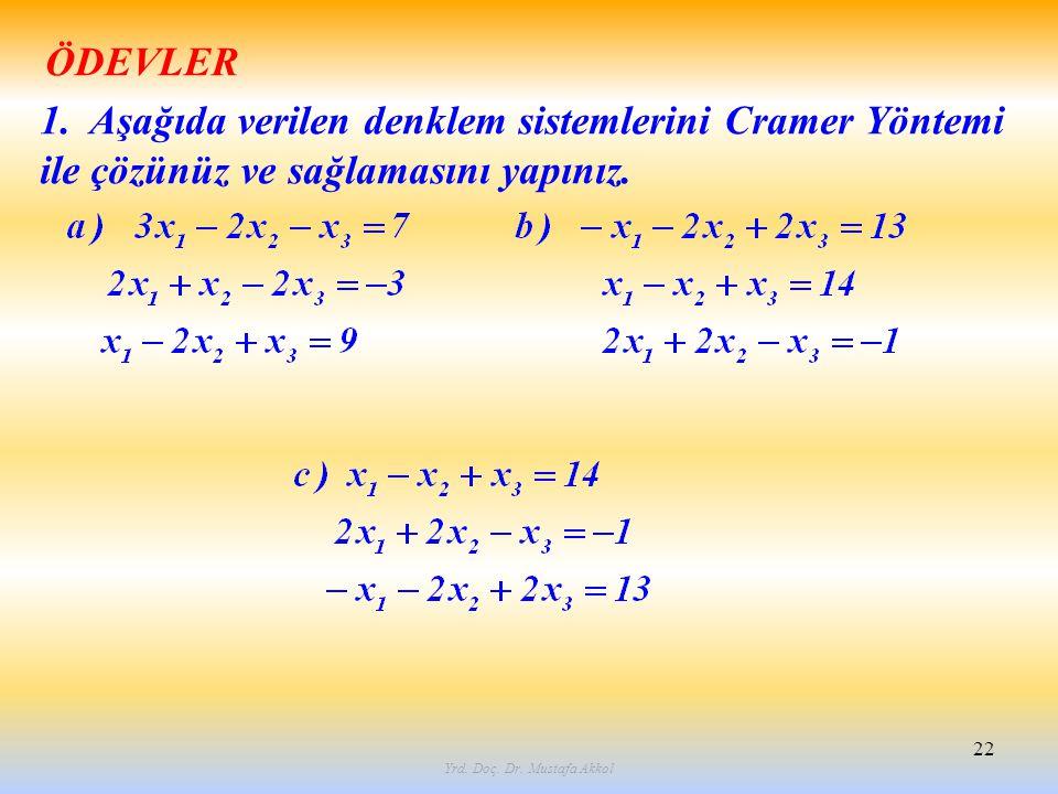Yrd. Doç. Dr. Mustafa Akkol 22 1. Aşağıda verilen denklem sistemlerini Cramer Yöntemi ile çözünüz ve sağlamasını yapınız. ÖDEVLER