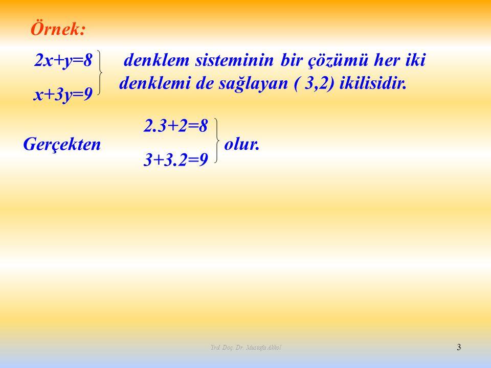 Yrd. Doç. Dr. Mustafa Akkol 3 Örnek: 2x+y=8 x+3y=9 denklem sisteminin bir çözümü her iki denklemi de sağlayan ( 3,2) ikilisidir. Gerçekten 2.3+2=8 3+3