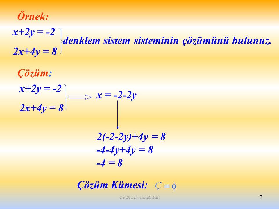 Yrd. Doç. Dr. Mustafa Akkol 7 Örnek: x+2y = -2 2x+4y = 8 denklem sistem sisteminin çözümünü bulunuz. Çözüm: x = -2-2y 2(-2-2y)+4y = 8 -4-4y+4y = 8 -4