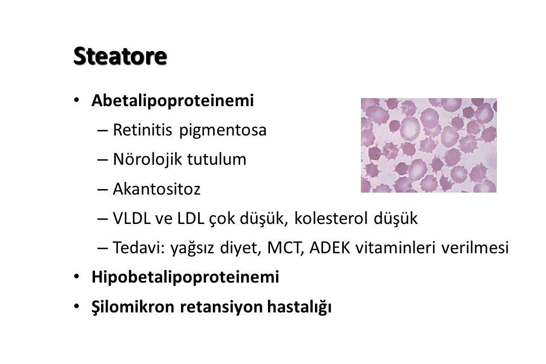 Steatore Abetalipoproteinemi – Retinitis pigmentosa – Nörolojik tutulum – Akantositoz – VLDL ve LDL çok düşük, kolesterol düşük – Tedavi: yağsız diyet, MCT, ADEK vitaminleri verilmesi Hipobetalipoproteinemi Şilomikron retansiyon hastalığı