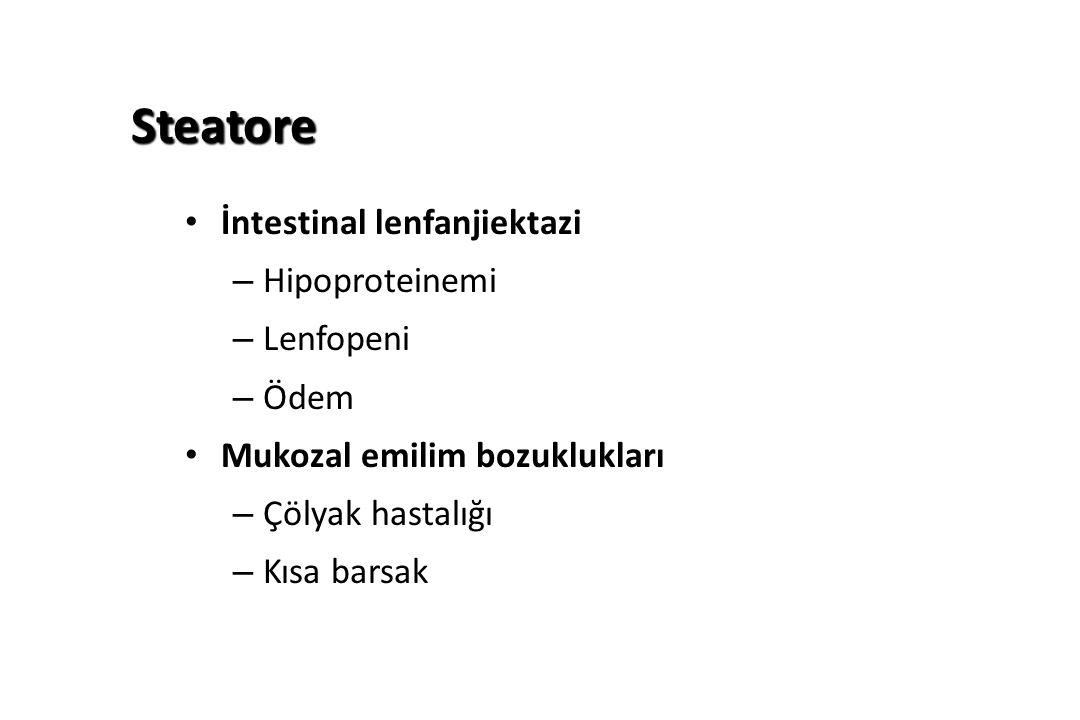 Steatore İntestinal lenfanjiektazi – Hipoproteinemi – Lenfopeni – Ödem Mukozal emilim bozuklukları – Çölyak hastalığı – Kısa barsak