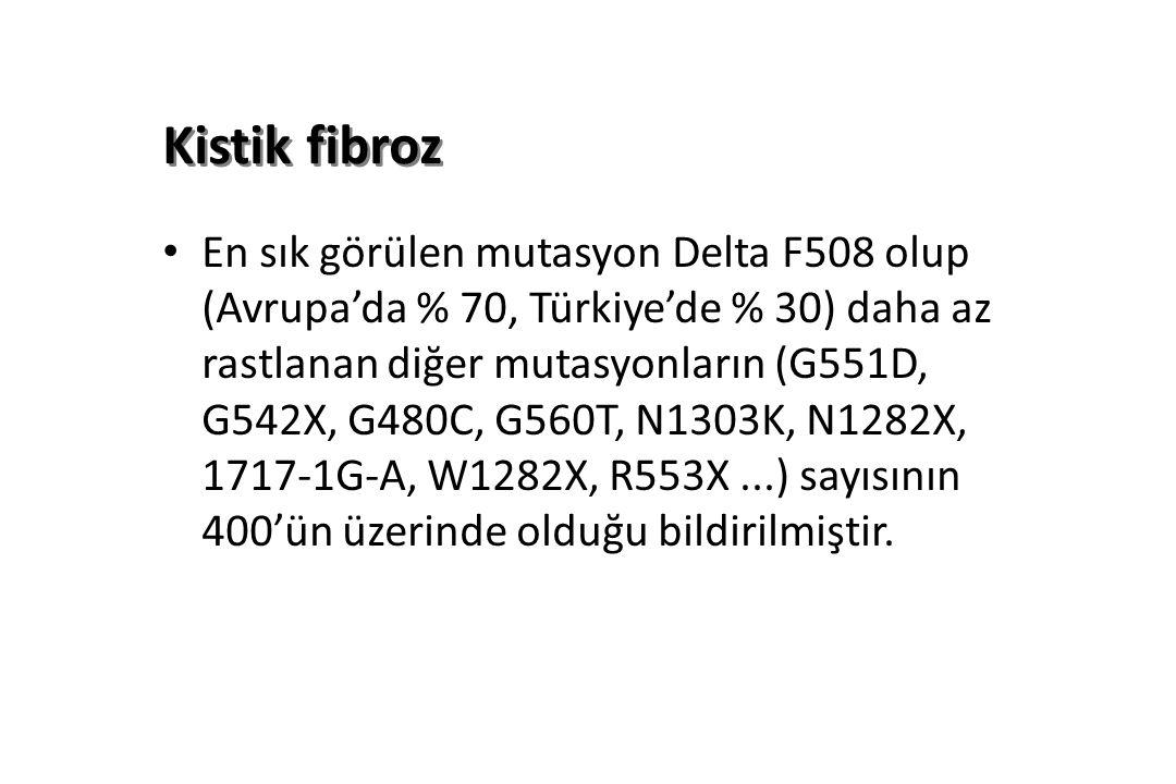 Kistik fibroz En sık görülen mutasyon Delta F508 olup (Avrupa'da % 70, Türkiye'de % 30) daha az rastlanan diğer mutasyonların (G551D, G542X, G480C, G560T, N1303K, N1282X, 1717-1G-A, W1282X, R553X...) sayısının 400'ün üzerinde olduğu bildirilmiştir.
