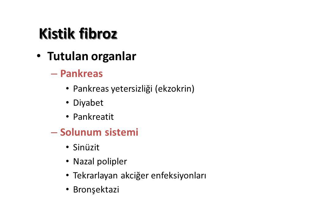 Kistik fibroz Tutulan organlar – Pankreas Pankreas yetersizliği (ekzokrin) Diyabet Pankreatit – Solunum sistemi Sinüzit Nazal polipler Tekrarlayan akciğer enfeksiyonları Bronşektazi