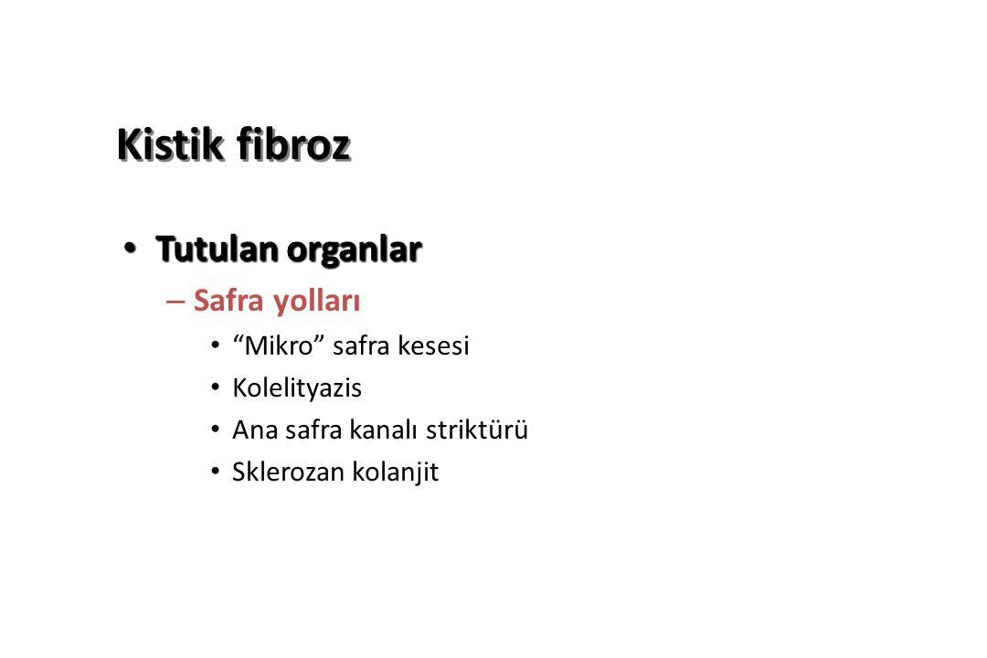 Kistik fibroz Tutulan organlar Tutulan organlar – Safra yolları Mikro safra kesesi Kolelityazis Ana safra kanalı striktürü Sklerozan kolanjit