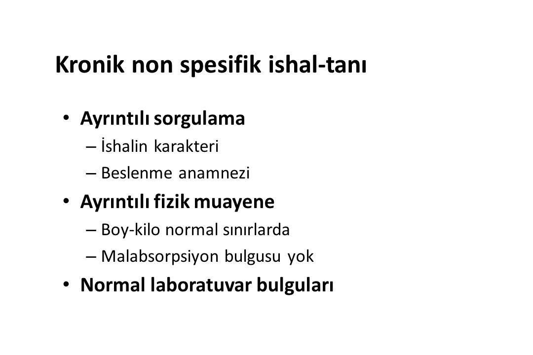 Kronik non spesifik ishal-tanı Ayrıntılı sorgulama – İshalin karakteri – Beslenme anamnezi Ayrıntılı fizik muayene – Boy-kilo normal sınırlarda – Malabsorpsiyon bulgusu yok Normal laboratuvar bulguları