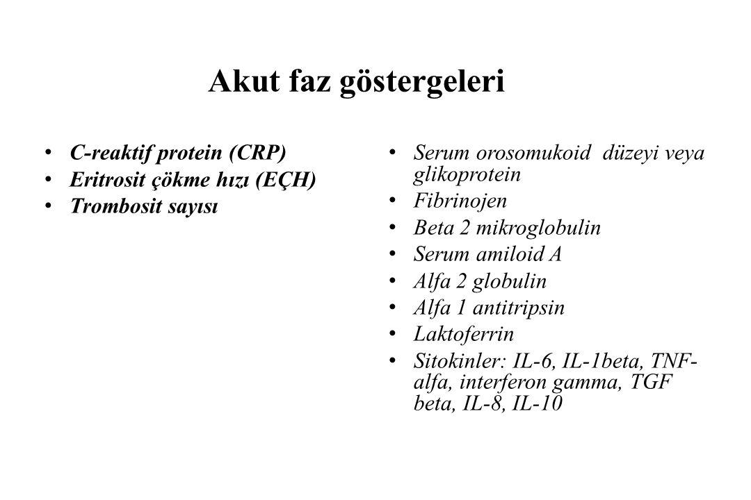 Akut faz göstergeleri C-reaktif protein (CRP) Eritrosit çökme hızı (EÇH) Trombosit sayısı Serum orosomukoid düzeyi veya glikoprotein Fibrinojen Beta 2 mikroglobulin Serum amiloid A Alfa 2 globulin Alfa 1 antitripsin Laktoferrin Sitokinler: IL-6, IL-1beta, TNF- alfa, interferon gamma, TGF beta, IL-8, IL-10