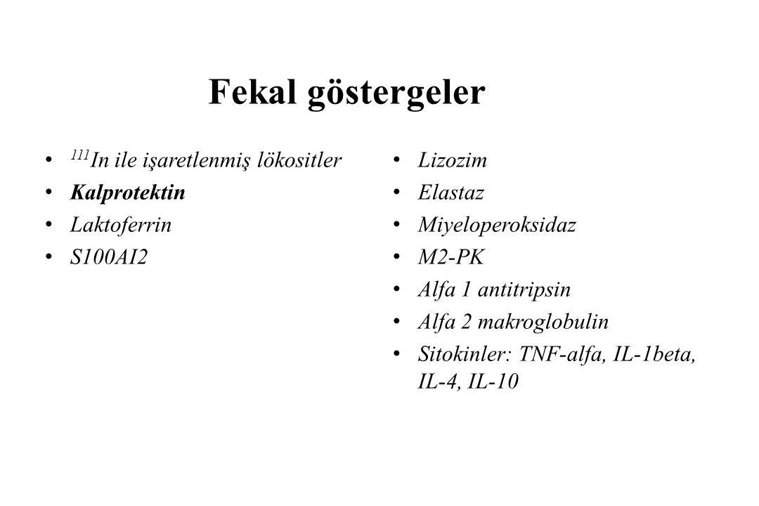 Fekal göstergeler 111 In ile işaretlenmiş lökositler Kalprotektin Laktoferrin S100AI2 Lizozim Elastaz Miyeloperoksidaz M2-PK Alfa 1 antitripsin Alfa 2 makroglobulin Sitokinler: TNF-alfa, IL-1beta, IL-4, IL-10