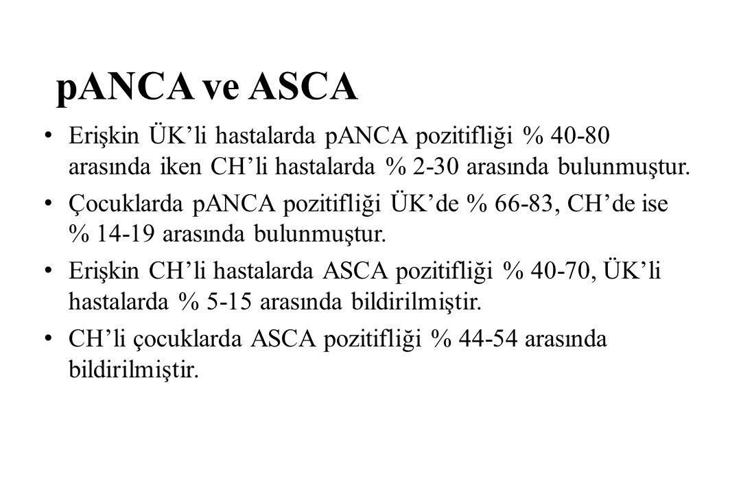 pANCA ve ASCA Erişkin ÜK'li hastalarda pANCA pozitifliği % 40-80 arasında iken CH'li hastalarda % 2-30 arasında bulunmuştur.