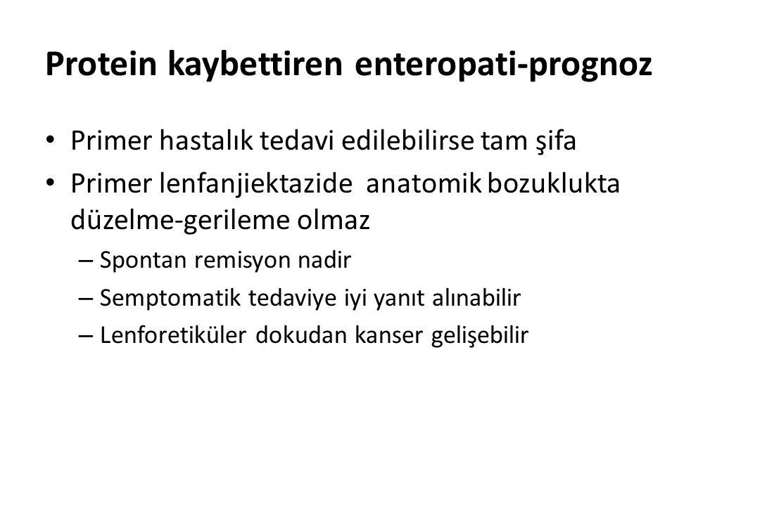 Protein kaybettiren enteropati-prognoz Primer hastalık tedavi edilebilirse tam şifa Primer lenfanjiektazide anatomik bozuklukta düzelme-gerileme olmaz – Spontan remisyon nadir – Semptomatik tedaviye iyi yanıt alınabilir – Lenforetiküler dokudan kanser gelişebilir