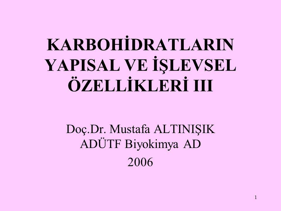 1 KARBOHİDRATLARIN YAPISAL VE İŞLEVSEL ÖZELLİKLERİ III Doç.Dr. Mustafa ALTINIŞIK ADÜTF Biyokimya AD 2006