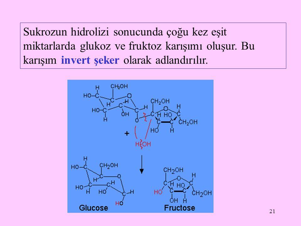 21 Sukrozun hidrolizi sonucunda çoğu kez eşit miktarlarda glukoz ve fruktoz karışımı oluşur. Bu karışım invert şeker olarak adlandırılır.
