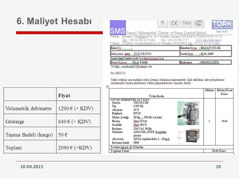 10 10.04.2015 10 6. Maliyet Hesabı 10.04.2015 Fiyat Volumetrik debimetre1200 € (+ KDV) Gösterge840 € (+ KDV) Taşıma Bedeli (kargo)50 € Toplam2090 € (+