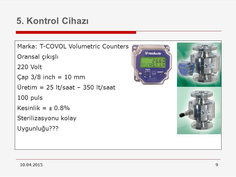 9 10.04.2015 9 5. Kontrol Cihazı 10.04.2015 Marka: T-COVOL Volumetric Counters Oransal çıkışlı 220 Volt Çap 3/8 inch = 10 mm Üretim = 25 lt/saat – 350
