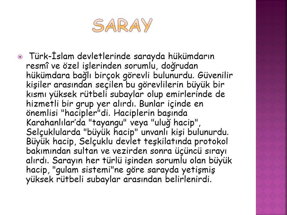  Türk-İslam devletlerinde saray 3 kısımdan oluşurdu.