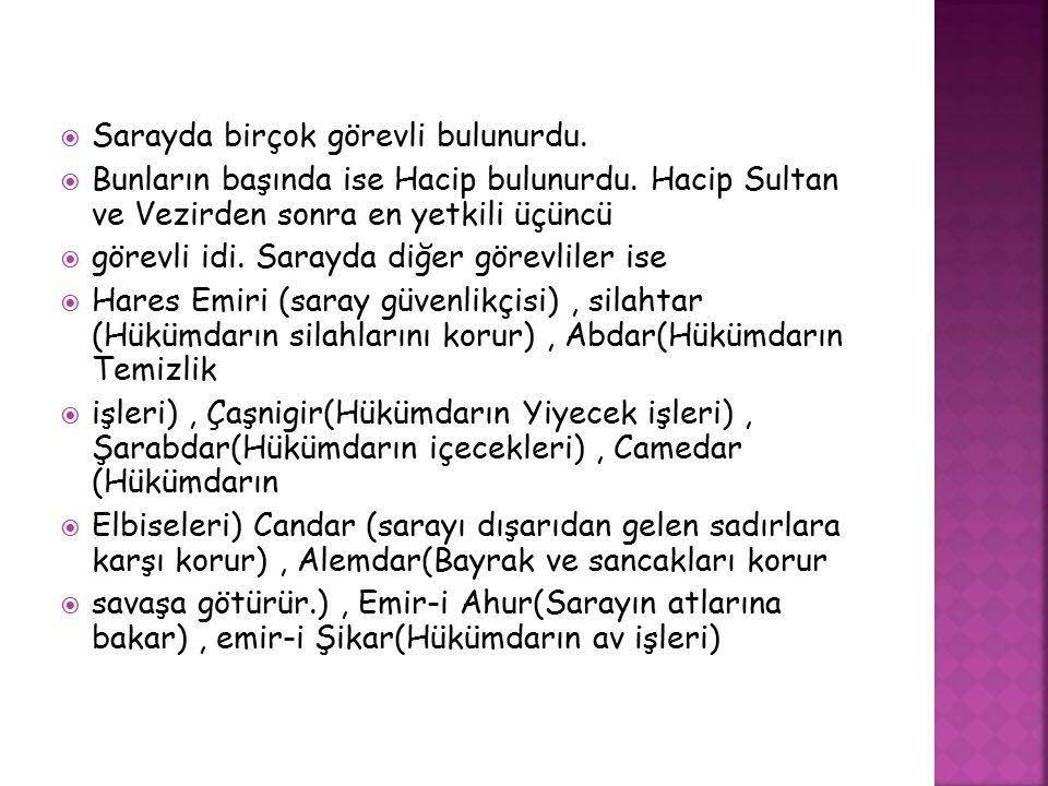  Sarayda birçok görevli bulunurdu.  Bunların başında ise Hacip bulunurdu. Hacip Sultan ve Vezirden sonra en yetkili üçüncü  görevli idi. Sarayda di