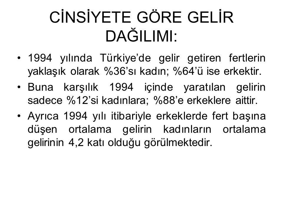 CİNSİYETE GÖRE GELİR DAĞILIMI: 1994 yılında Türkiye'de gelir getiren fertlerin yaklaşık olarak %36'sı kadın; %64'ü ise erkektir. Buna karşılık 1994 iç