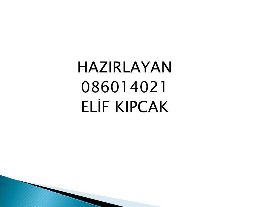 HAZIRLAYAN 086014021 ELİF KIPCAK