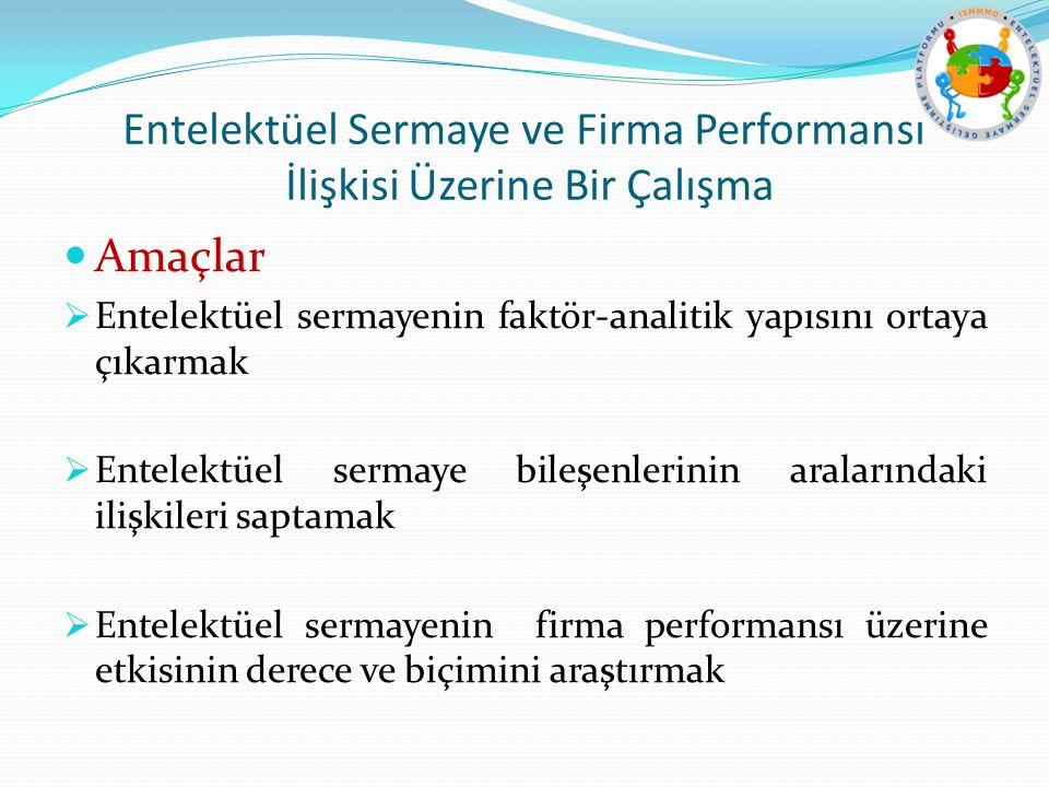 Entelektüel Sermaye ve Firma Performansı İlişkisi Üzerine Bir Çalışma Amaçlar  Entelektüel sermayenin faktör-analitik yapısını ortaya çıkarmak  Ente