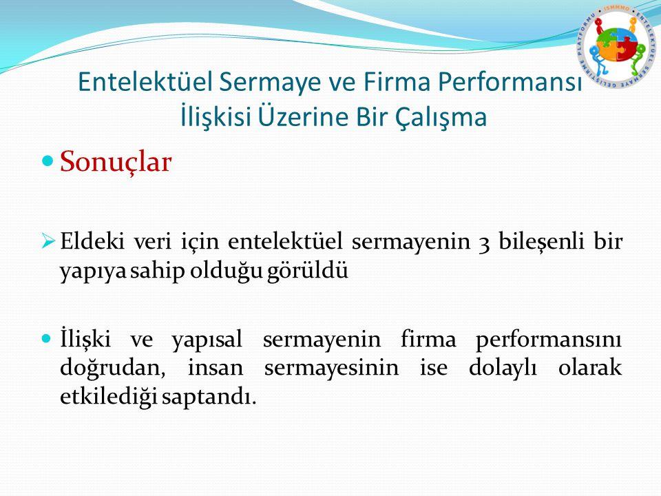 Entelektüel Sermaye ve Firma Performansı İlişkisi Üzerine Bir Çalışma Sonuçlar  Eldeki veri için entelektüel sermayenin 3 bileşenli bir yapıya sahip